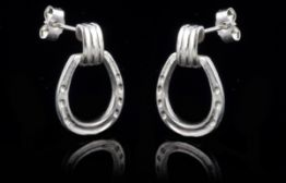 Large Horseshoe Drop Earrings