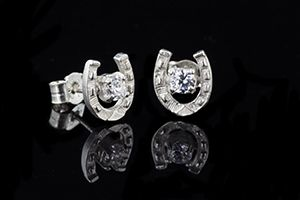 Horse Shoe Stone Set Earrings