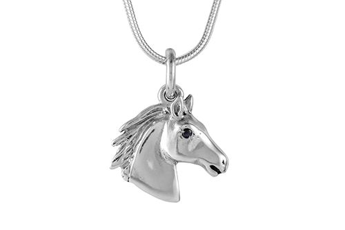 Horse Head with Stone Set Eye Necklace