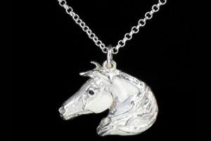 Arab Horse Head Stone Set Necklace